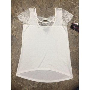 White Knit Top Almost Famous Lace Top Shoulders